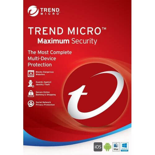 Trend Micro Maximum Security 11 | 2018 | 1 An | 3 Postes