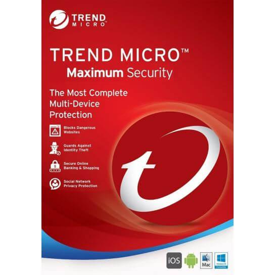 Trend Micro Maximum Security 11 | 2018 | 1 An | 3 Postes