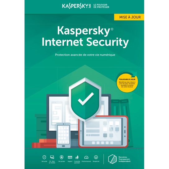 Kaspersky Internet Security Mise à jour 2019 (1,3,5,10 Postes)